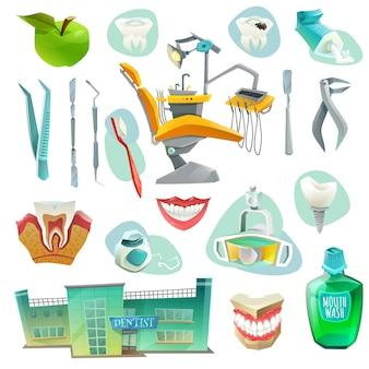 Icone decorative dell'ufficio dentario messe