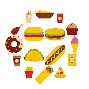 Icone degli alimenti a rapida preparazione messe nello stile piano