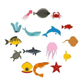 Icone degli animali di mare messe nello stile piano