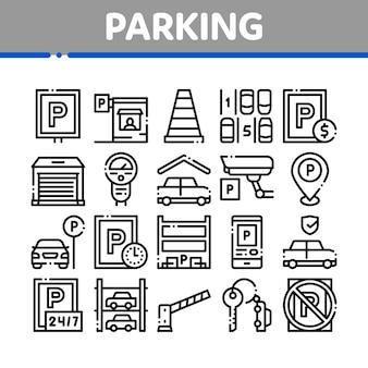 Icone degli elementi della raccolta dell'automobile di parcheggio messe