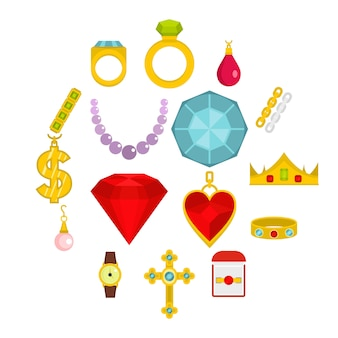 Icone degli oggetti dei gioielli messe nello stile piano