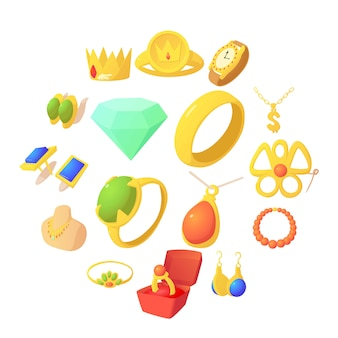 Icone degli oggetti dei gioielli messe, stile del fumetto