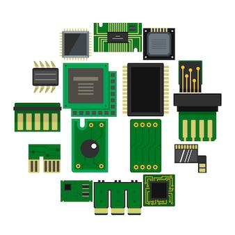 Icone dei chip di computer messe nello stile piano