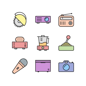 Icone dei dispositivi elettronici isolate su bianco