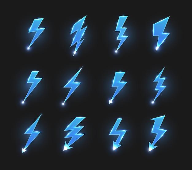 Icone dei fulmini frecce a zig-zag, sciopero elettrico o lampi con scintille luminose.