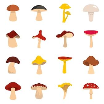 Icone dei funghi impostate in stile piano