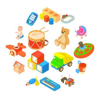 Icone dei giocattoli dei bambini messe, stile piano