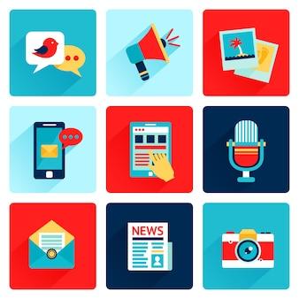 Icone dei media piatte