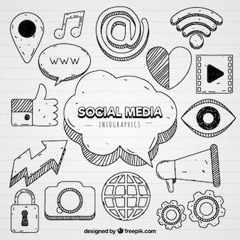 Icone dei media sociali per infografica