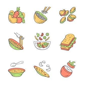 Icone dei piatti del menu del ristorante messe.