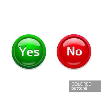 Icone dei pulsanti rotondi verdi e rossi a colori sì e no. bottoni in vetro su sfondo nero
