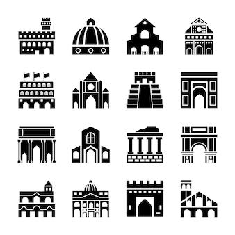 Icone dei punti di riferimento dell'italia roma