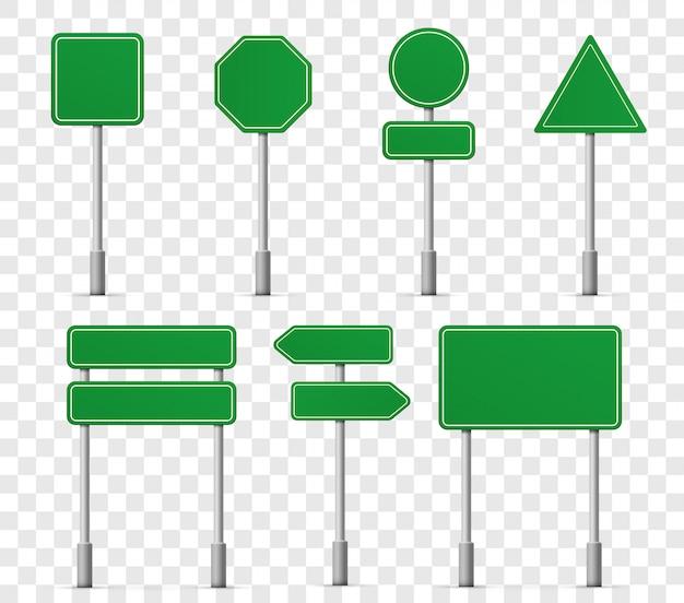 Icone dei segni della strada principale del bordo della strada. puntatore informazioni cartello stradale o modello di segnali stradali
