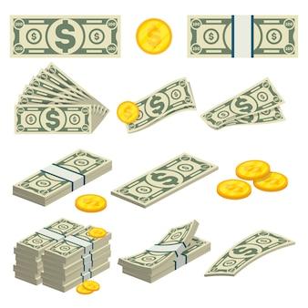 Icone dei soldi messe nello stile del fumetto