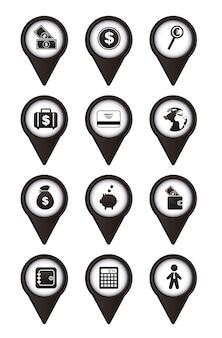 Icone dei soldi sopra l'illustrazione bianca di vettore del fondo