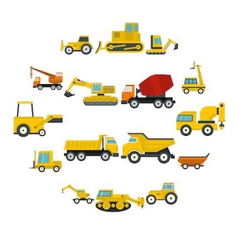 Icone dei veicoli da costruzione messe nello stile piano