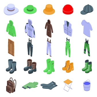 Icone dei vestiti del pescatore messe, stile isometrico