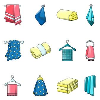 Icone del bagno della stazione termale d'attaccatura dell'asciugamano messe
