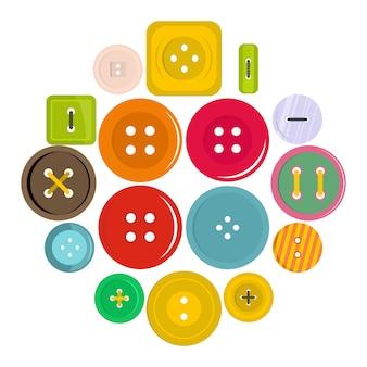 Icone del bottone dei vestiti messe nello stile piano