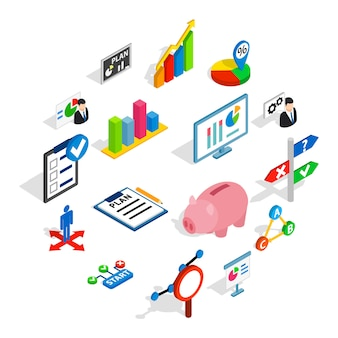 Icone del business plan messe, stile isometrico 3d