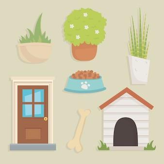 Icone del cane da giardino e casa
