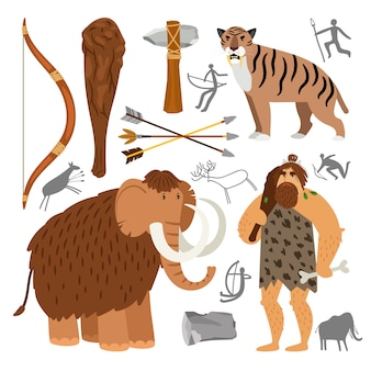 Icone del cavernicolo di neanderthal di età della pietra