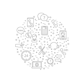 Icone del centro di supporto di linea chiamata nell'illustrazione di forma del cerchio