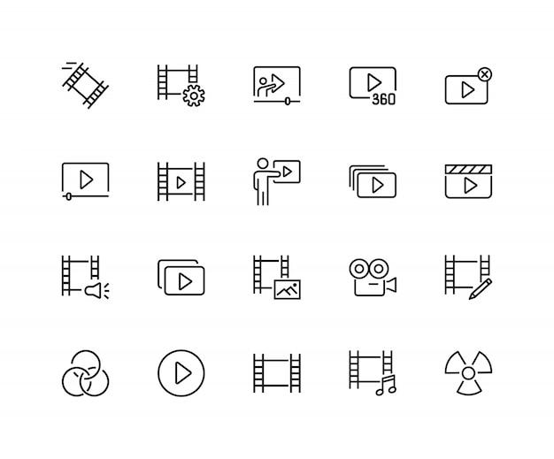 Icone del cinema set di venti icone di linea. giocatore di pellicola, macchina fotografica.