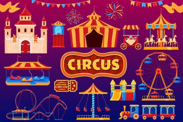 Icone del circo, carnevale del parco di divertimenti, insieme isolato festival della zona fieristica, illustrazione