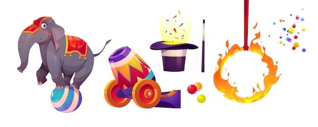 Icone del circo con elefante, anello di fuoco e cannone