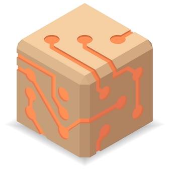 Icone del circuito stampato. logo del segno di dadi schema di tecnologia.
