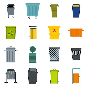 Icone del contenitore dell'immondizia impostate nello stile piano