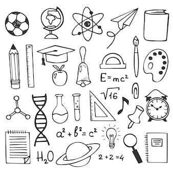 Icone del disegno di schizzo di istruzione scolastica. illustrazione di elementi di educazione disegnati a mano