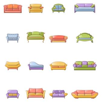 Icone del divano della stanza della sedia del sofà messe
