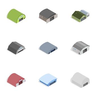 Icone del fabbricato industriale, stile isometrico 3d