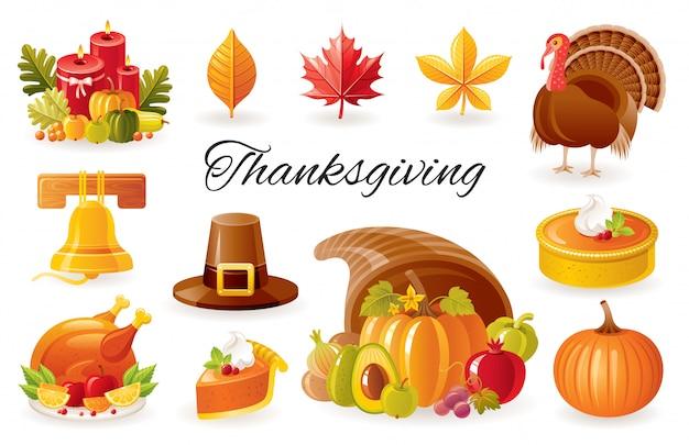 Icone del fumetto del ringraziamento. festa d'autunno con tacchino, zucca, cornucopia, torta e cappello da pellegrino.