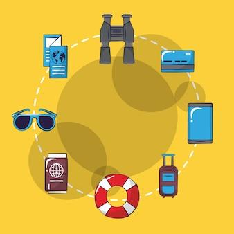 Icone del fumetto di viaggi e vacanze