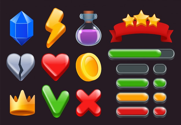 Icone del kit di interfaccia utente di gioco. i menu a strisce colorate a stelle e le barre di stato per i giochi web o smartphone online si interfacciano con simboli 2d