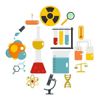 Icone del laboratorio chimico messe nello stile piano