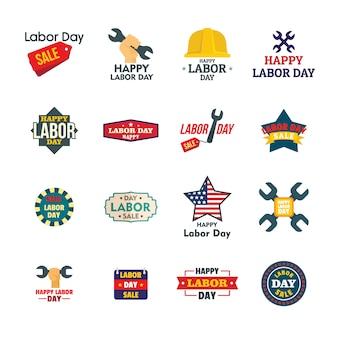 Icone del logotype di celebrazione di vendita dei lavoratori di festa del lavoro messe