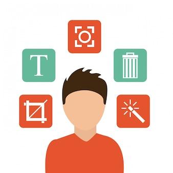 Icone del menu impostazioni di modifica delle immagini