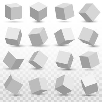 Icone del modello del cubo 3d impostate
