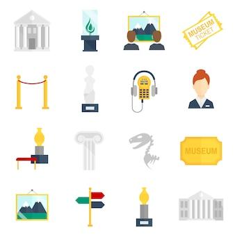 Icone del museo piatte