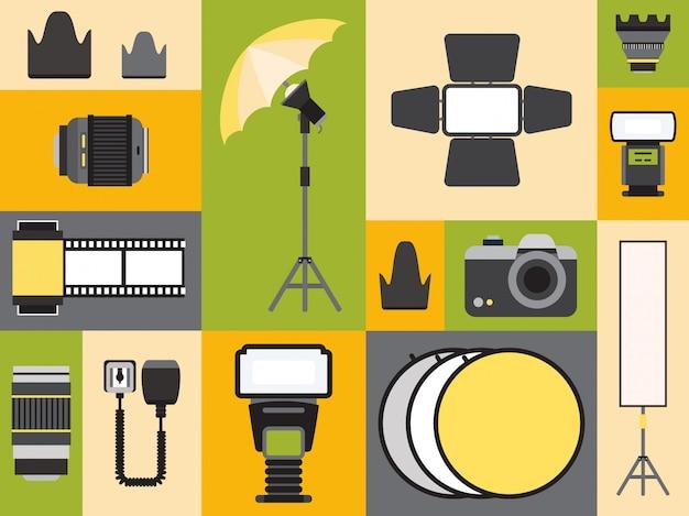 Icone del rifornimento di fotografia in collage variopinto, illustrazione. set di adesivi in stile piatto, emblemi di attrezzature fotografiche professionali. fotocamera, obiettivo, flash e riflettore