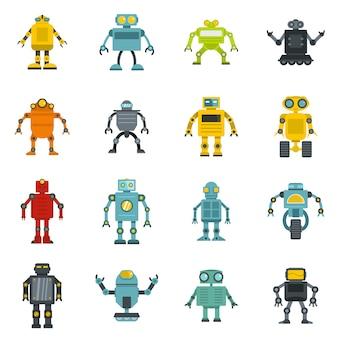 Icone del robot impostate in stile piano