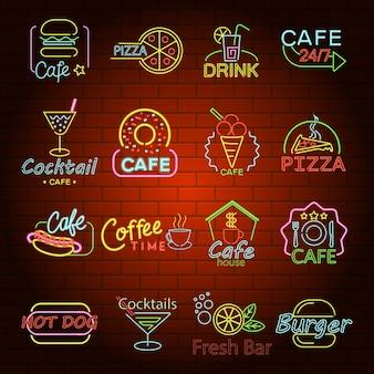 Icone del segno del negozio di bagliore al neon degli alimenti a rapida preparazione messe.