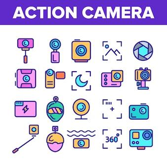 Icone del segno della macchina fotografica di azione messe