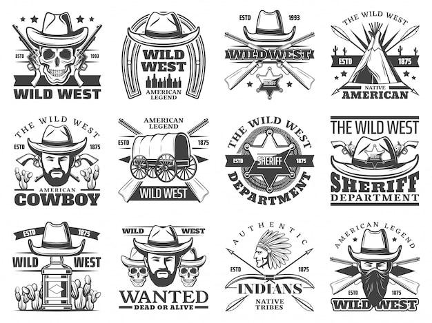 Icone del selvaggio west di cowboy, teschio, sceriffo, bandito