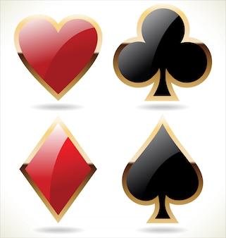 Icone del seme di carta in nero e rosso