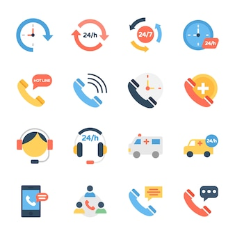 Icone del servizio clienti, della linea di assistenza e dell'assistenza clienti